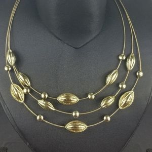Napier Vintage gold tone 3 tier necklace